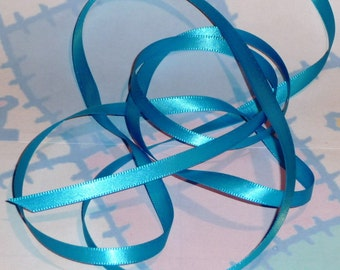 TURQUOISE DouBLe FaCeD SaTiN RiBBoN, Polyester 1/4 inch wide, 5 Yards