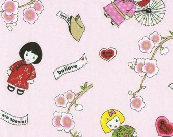 CHINA DOLLs, Cotton Interlock Knit Fabric, FQ 18x28 inches