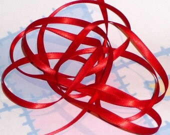 RED HOT DouBLe FaCeD SaTiN RiBBoN, Polyester 1/4 inch wide, 5 Yards