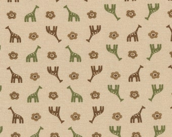 Giraffes Brown n Green on Tan Cotton Lycra Jersey Knit Fabric, by the Yard