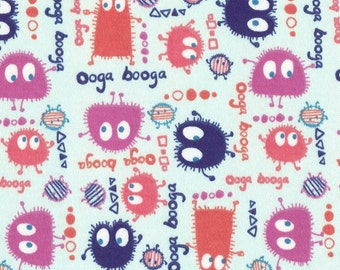 GUMDROP Ooga Booga on Lt Baby Blue, Cotton Interlock Knit Fabric, by the Yard