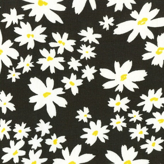 DAISIES, Cotton/Lycra Jersey Knit Fabric, Last piece, Just shy of a yard.