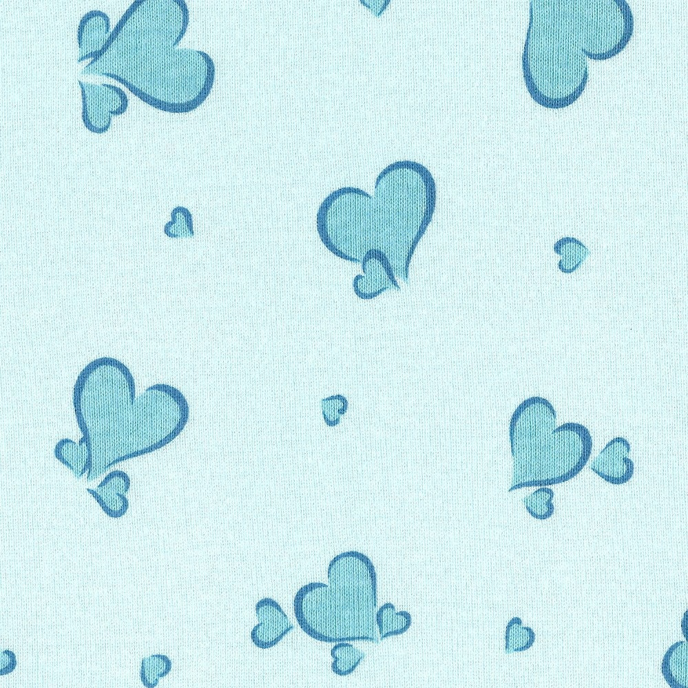 Blue hearts cotton baby rib knit fabric by the yard for Baby fabric by the yard