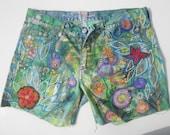 Funky handpainted denim shorts