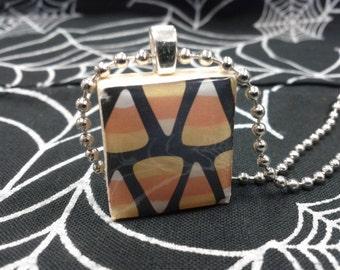 Candy Corn Scrabble Tile Necklace