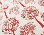 Orchard 100% organic cotton fabric in Red