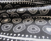 Daisies hemp/cotton fabric White on Black