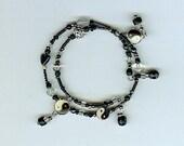 Black Hematite Yin Yang Memory Wire Bracelet