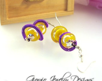 Twisted Lemonade Handmade lemon yellow  Hollow Lampwork Earrings SRA Artisian  SRAJD Team LE Team