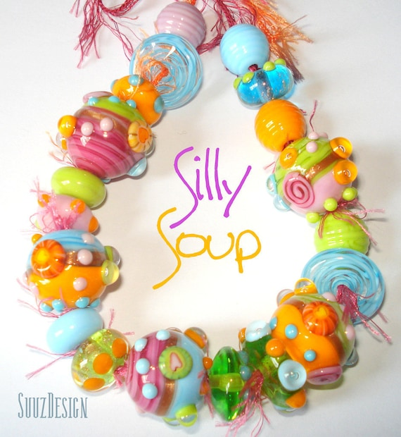 Handmade lampwork bead set --- SILLY SOUP ---  made in Paris...SRA