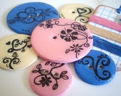 Big Chipboard Epoxy Buttons-Set of 6-Flower Vine Collection-Emroidery Floss Included