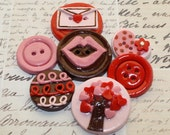 Tree of Love Polymer Clay Buttons-Set of 7