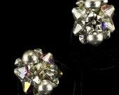 Vintage 1960s Silver Metallic Pearl and Crystal Earrings