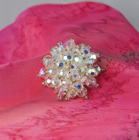 Crystal Starburst Vintage Pin