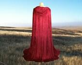 Red Cloak - Little Red Riding Hood -  Garnet Velvet Cape- Wedding - Prom - Renaissance Festival