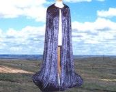 Hooded Cloak Navy Velvet Renaissance Festival Wedding Medieval Christmas