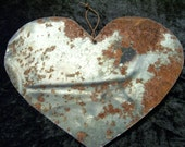 Heart Metal Antique Tin Upcycled From Barn Roof Valentine's Day