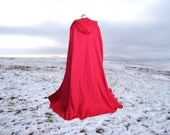 Cape Cloak Red Hooded  Cotton Renaissance Medieval Hobbit Harry Potter Halloween Costume Little Red Riding Hood
