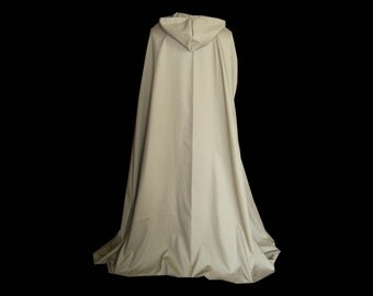 Hooded Cloak Cape Handmade Tan Cotton Medieval Renaissance Prairie Victorian Wedding Halloween