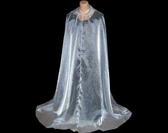 Pale Sheer Sparkle Hooded Organza Handmade Cloak - Cape - Halloween- Renaissance Wedding - Gothic Medieval Halloween
