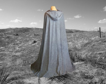 Cloak - Grey - Hooded Cape - Halloween- Wedding- Costume- Grey Faux Suede- Renaissance - Medieval - LOTR - CosPlay- Fantasy - Druid