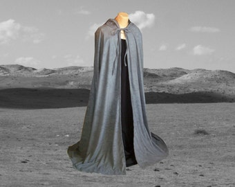 Cloak - Grey Hooded Faux Suede - Cape - Wedding -  Renaissance - Halloween Costume - Harry Potter