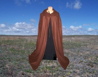 Brown Cloak Cape Fleece Hooded Halloween Costume Renaissance Medieval Gothic Wedding Halloween