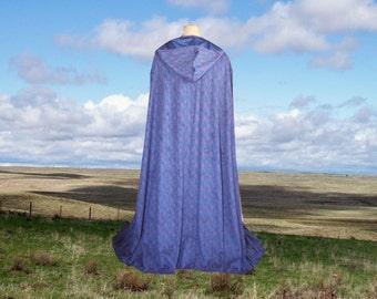 Blue Hooded Cloak Cape Faux Suede Wedding Costume Halloween