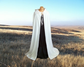 Ivory Cloak Cape Hooded Faux Suede Wedding Medieval Renaissance Halloween