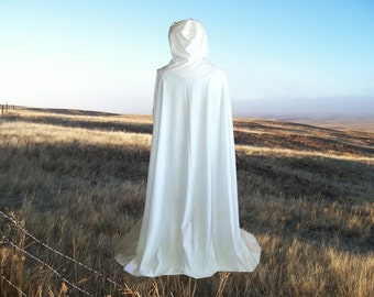 Ivory Cloak Cape Hooded Faux Suede Wedding Medieval Renaissance  Lord of the Rings Harry Potter
