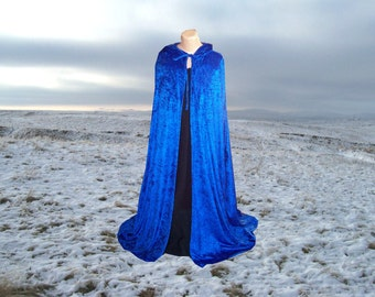 Royal Blue Cloak - Cape-  Hooded  - Velvet - Renaissance - Medieval -Harry Potter -Wedding Halloween