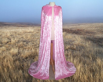 Pink Cloak Cape Hooded  Velvet Renaissance Medieval Camelot Prom Wedding Halloween