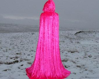 Hooded Cape Cloak Hot Pink Velvet Hooded Wedding Renaissance Prom Costume Valentine's Day
