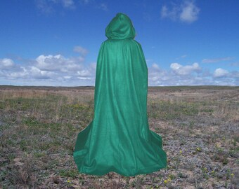 Green Cape Cloak Fleece Hooded Renaissance Halloween Harry Potter Lord of the Rings