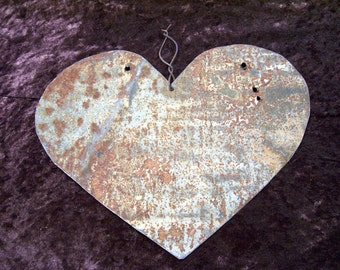 Valentine's Heart Antique Tin  Metal Created Out of an Old Barn Roof Upcycled Valentines Day