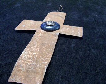 Cross Metal Antique Tin Metal Rustic Primitive Upcycled with Vintage Buttons