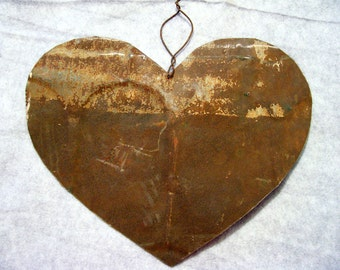 Heart Antique Tin  Metal Created Out of an Old Barn Roof Upcycled Valentines Day