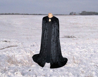 Cloak - Cape - Black Velvet - Halloween Costume - Renaissance Wedding - Harry Potter