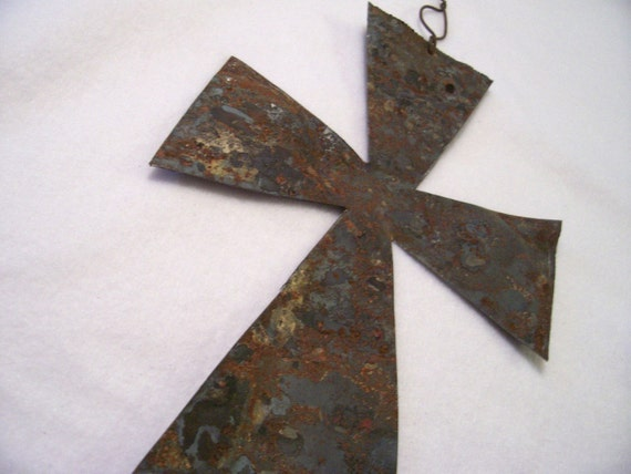 Cross Antique Tin Metal Upcycled from an Old Barn Roof