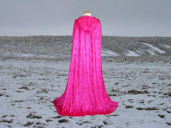 Cloak - Hot Pink Velvet  - Hooded Cape - Wedding - Renaissance - Prom -Costume Halloween