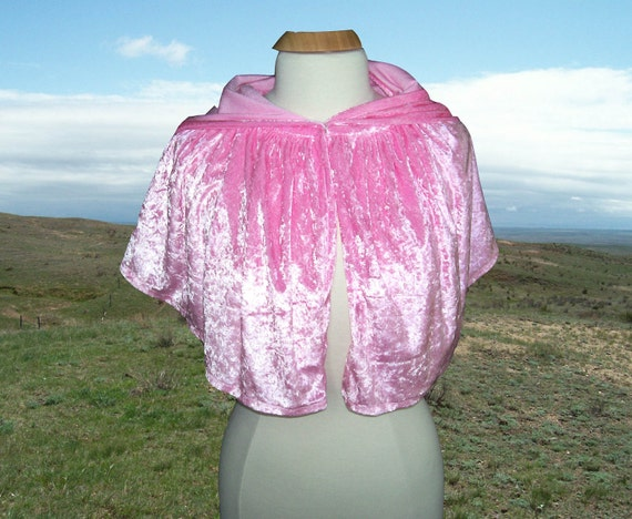Pink Cloak Capelet Cape Wedding Renaissance Prom Shrug Halloween