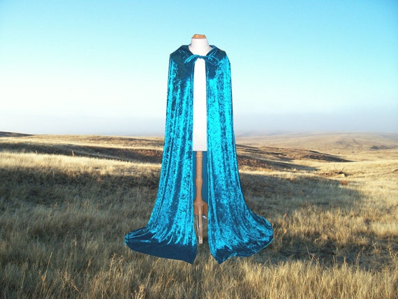 Turquoise Cloak Cape Medieval Renaissance Wedding Costume Blue Green Halloween