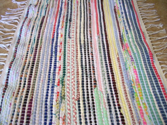 Rug Woven Upcycled Recycled Rainbow Colors 30 x 18