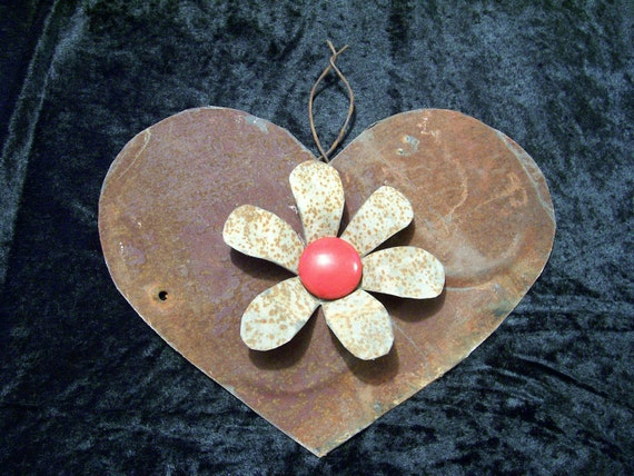 Heart with Flower Metal Created Out of an Old Barn Roof Upcycled Valentines Day