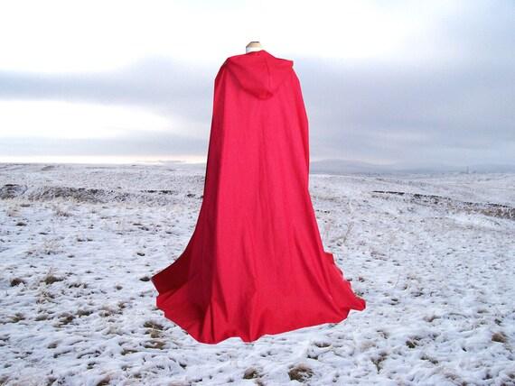 Cape Cloak Red Hooded  Cotton Renaissance Medieval Hobbit Harry Potter Halloween Costume Little Red Riding Hood