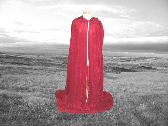 Red Cloak- Cape- Faux Suede Renaissance Medieval Hobbit Harry Potter Costume Little Red Riding Hood Halloween
