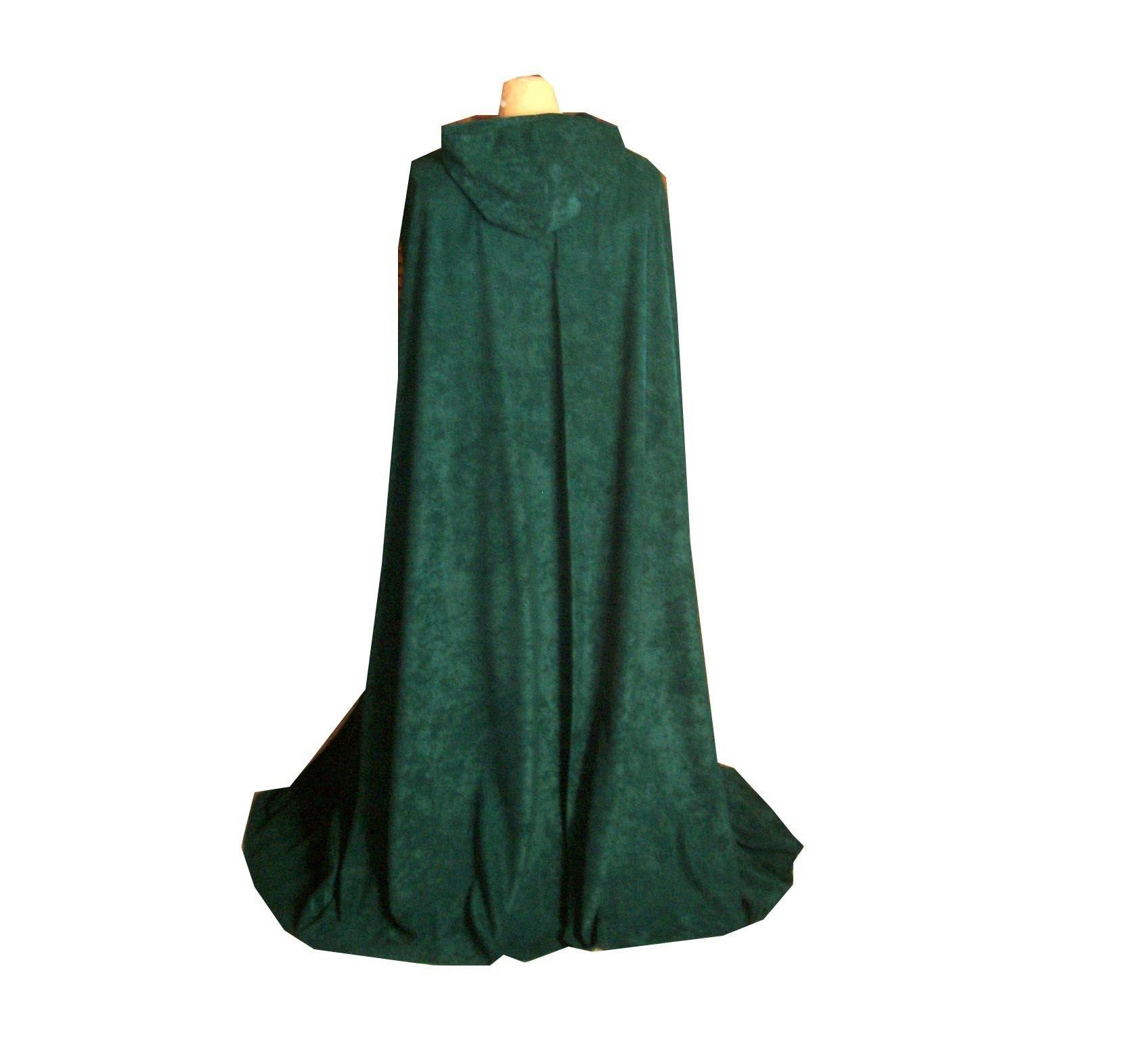 Dark green fleece hooded cloak