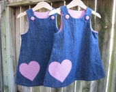 Girls Denim dress with Pink Gingham heart appliques