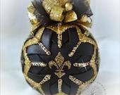 Black Gold Fleur de lis quilted nola Louisiana ornament