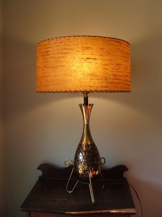 atomic black and gold lamp with fiberglass shade. Black Bedroom Furniture Sets. Home Design Ideas